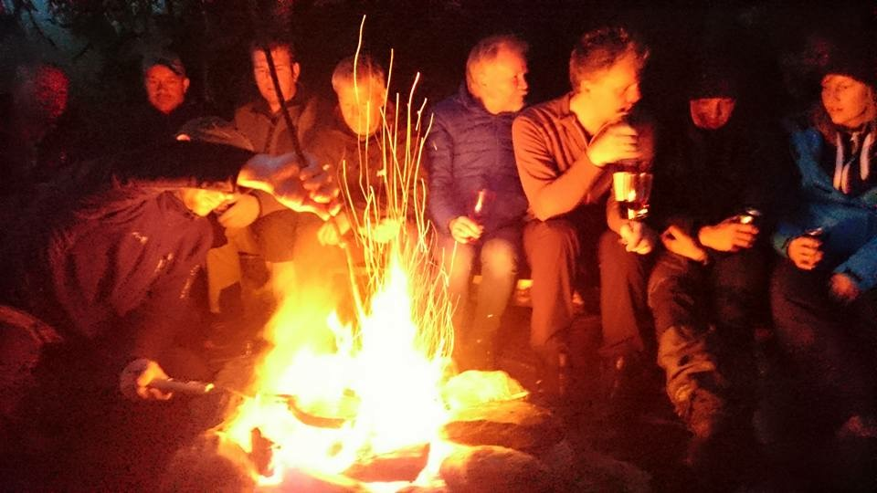 Social gathering around the bonfire in 2015. Photo by Ane Mengshoel